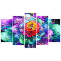 5pcs Full Square Round Drill 5D DIY Diamond Painting Colorful Flower Multi Picture Combination 3D Embroidery