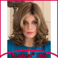 Medusa hair products: Heat resistant Synthetic pastel wigs for women Medium length layered Mix color Mono wig with bangs SW0117A