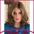 Medusa produtos para o cabelo: Sintética resistente ao calor perucas pastel para as mulheres comprimento Médio layered color Mix SW0117A Mono peruca com franja