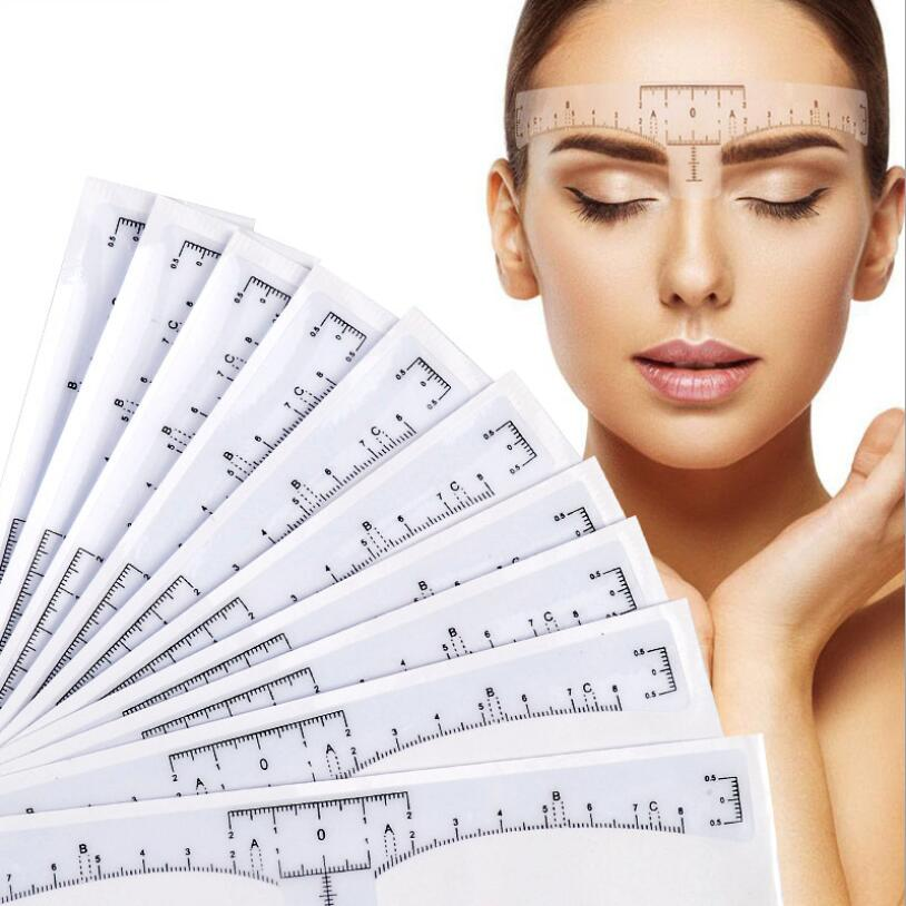 1000pcs Disposable Eyebrow Ruler Sticker Adhesive Brow Measurement Ruler Template Stencil Microblading Tool for Beginner