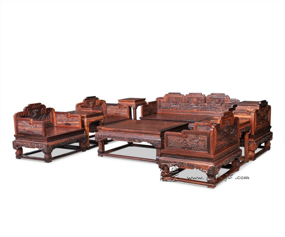 Rosewood Sectional Sofa bed 10-Pieces Set 1+2+3 New Chinese Classical Solid Wooden Furniture Suite With Padauk Tea Tables Couch chinese style wooden 1 2 3 heads lamps chinese restaurant new classical restaurant chandelier wooden sheepskin chandelier