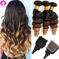 8A Ombre Brazilian Virgin Hair With Closure Loose Wave Virgin Hair 3 Bundles With Lace Closure Brazilian Curly Hair With Closure