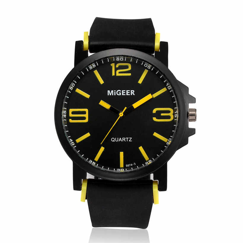 MIGEER Men's Sports Silicone Strap Wrist Watches Mens Top Brand Black Dial Quartz Analog Watch Male Clock Life Waterproof