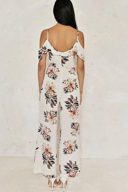 Tropical Flowers Strap Elegant Sexy V-neck Jumpsuit