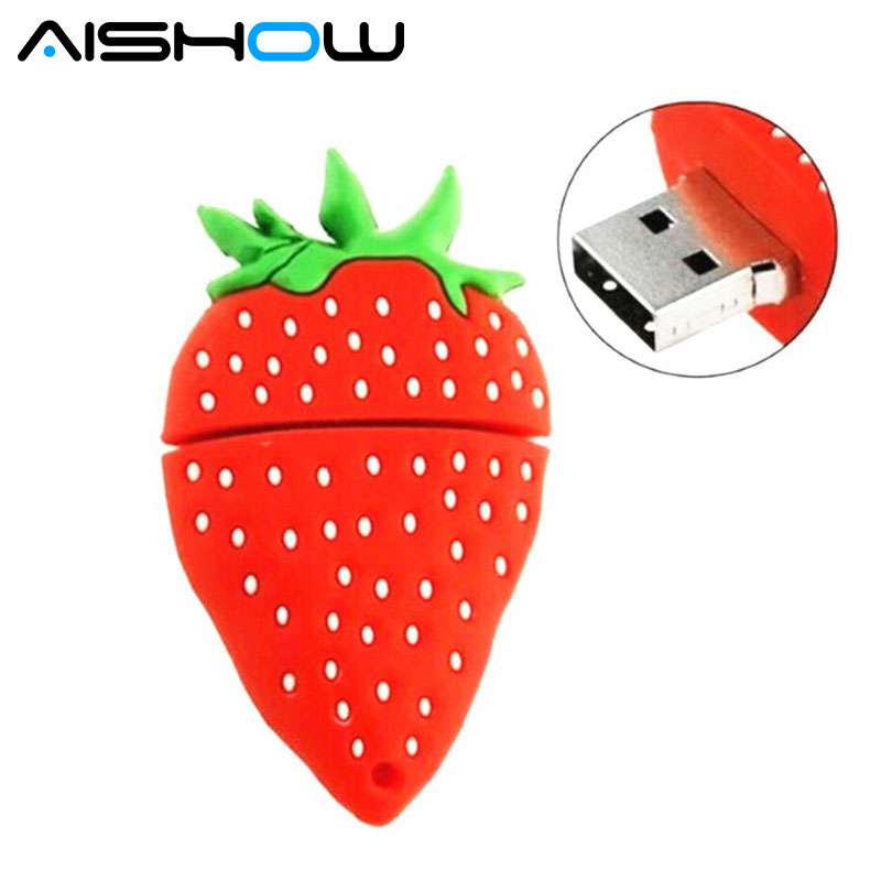 grappig fruit schattig pendrive cartoon aardbei usb flash drive drives 8 GB 16 GB 32 GB pendrives memory stick pen driver thumb drive