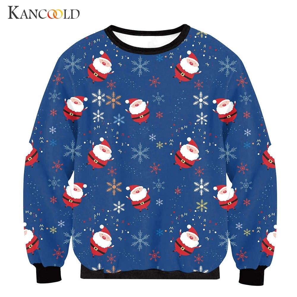 a basso prezzo b61c8 ffcc9 US $11.79 43% OFF|KANCOOLD 2017 Maglione di Babbo natale Carino Stampa  Pullover Maglione Outwear delle Donne Modelli di di neve Di Natale Nov1-in  ...