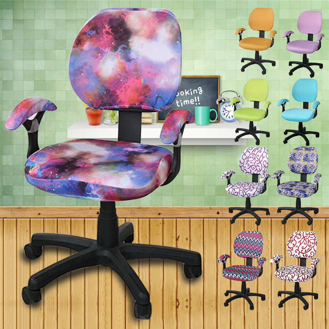 Stretch Furniture Covers Spandex Computer Chair Office Chair Flower Printed Rotating Poltrona Removable Chair Covers