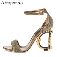 Asymmetrical Metal Letter Heel Gladiator Sandals Women One strap Gold Glitter High Heels Bling Sequins Catwalk Summer Sandalias