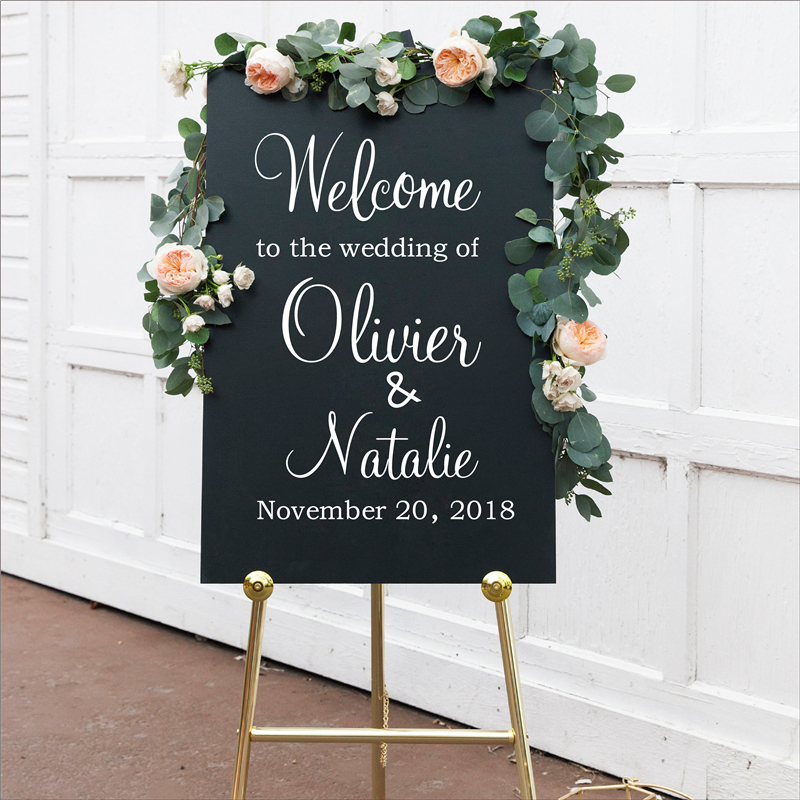Personalised Wedding Welcome Sign Decal Sticker, Customized Wedding Reception Vinyl Removable Waterproof Welcome Sign Decal image