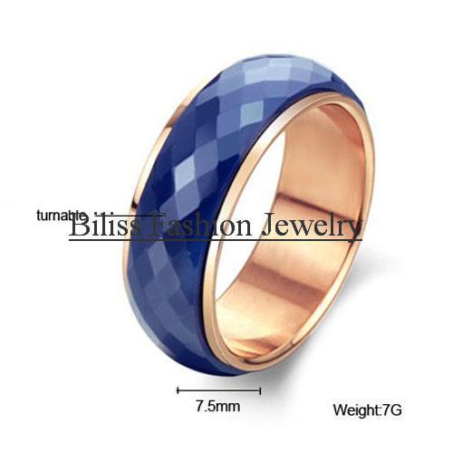 Unisex Men's Blue Tone Multi-faceted Ceramic Turntable Rose Gold Tone Wedding Engagement Ring
