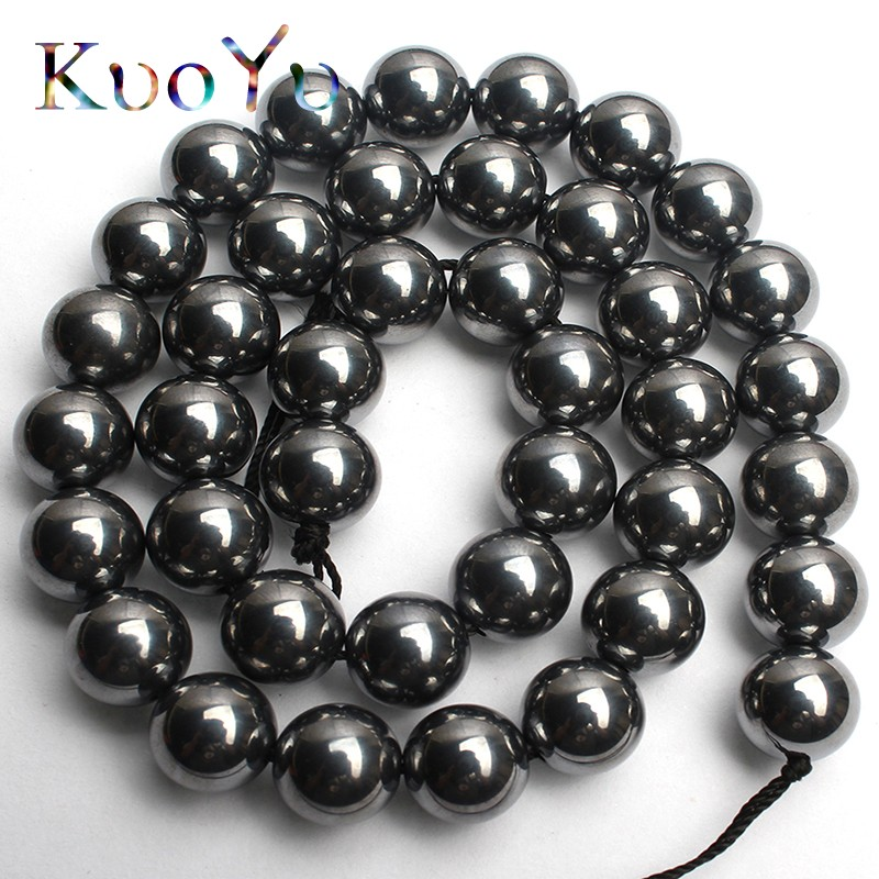 GEM-inside Black Round Magtice Hematite Gemstone Loose Beads Natural Genuine 10mm Energy Stone Power Beads for Jewelry Making 15