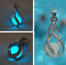 1 PCS HOT Fashion vintage Couple The Little Mermaid's Teardrop Glow in Dark Pendant Necklace Gift Glowing Necklace Pendant(China)