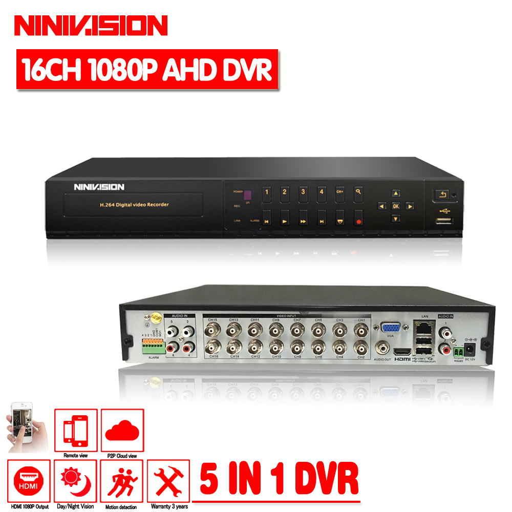 16 canal AHD DVR 1080 p DVR 16CH TVI CVI Soutien 1920*1080 2.0MP Caméra CCTV Vidéo Enregistreur DVR NVR HVR Système D'alarme de Sécurité