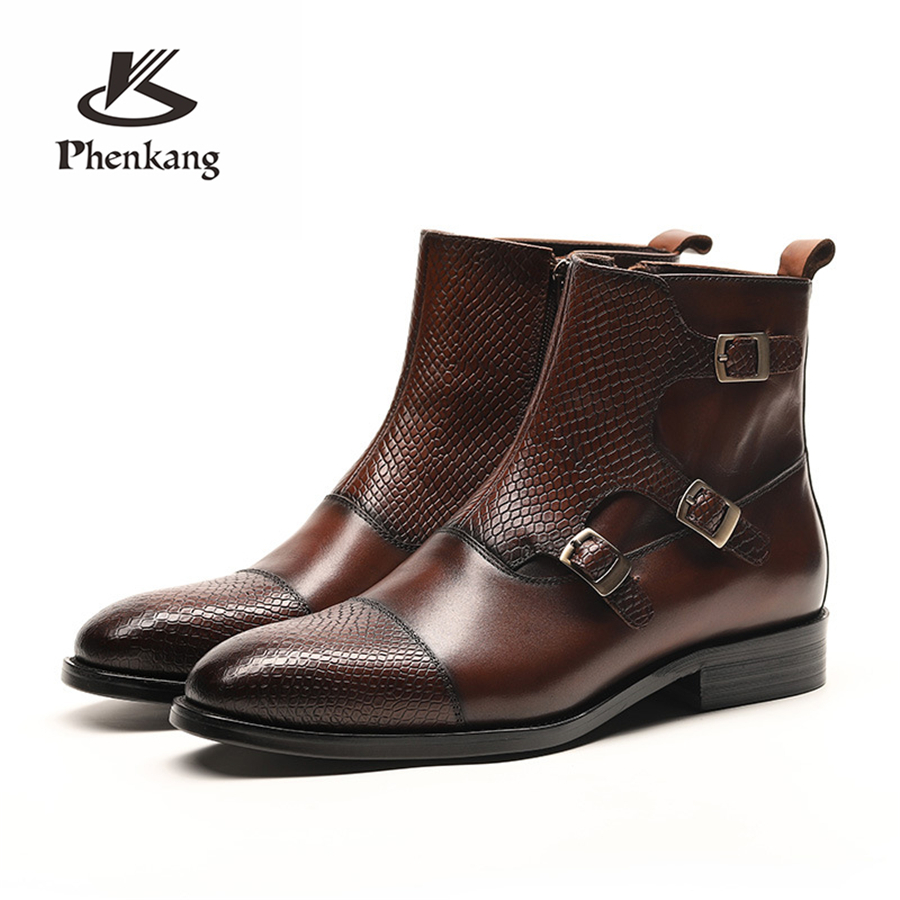 Men Winter Boots Genuine Cow Leather Chelsea Boots Brogue Casual Ankle Flat Shoes Comfortable Quality Soft Handmade Black Brown