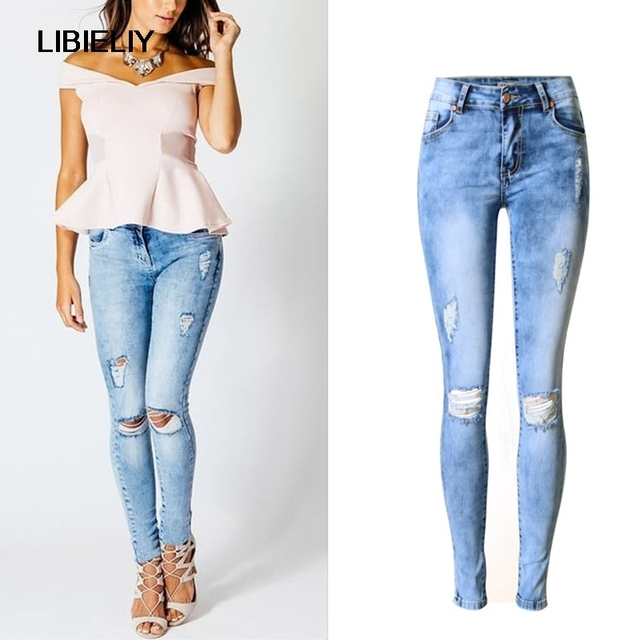 Nice New High Quality Women Vintage Straight Jeans Ladyu0026#39;s Sex Washed Jean Denim Ripped Hole ...