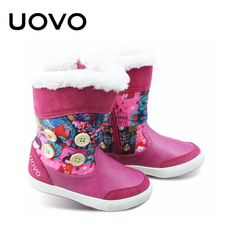 New Arrival Mid-calf Casual Boots Flower Princess Boutique Botas Botte Enfant Fille Uovo Girls Winter Boots Leather Shoes Kids uovo children winter shoes kids fox fur walking shoes girls snow shoes mid cut footwear for kids winter hiking boots for girls