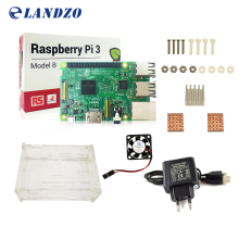 D Raspberry Pi 3 Model B starter kit-pi 3 board / pi 3 case /EU power plug/with logo Heatsinks pi3 b/pi 3b with wifi & bluetooth