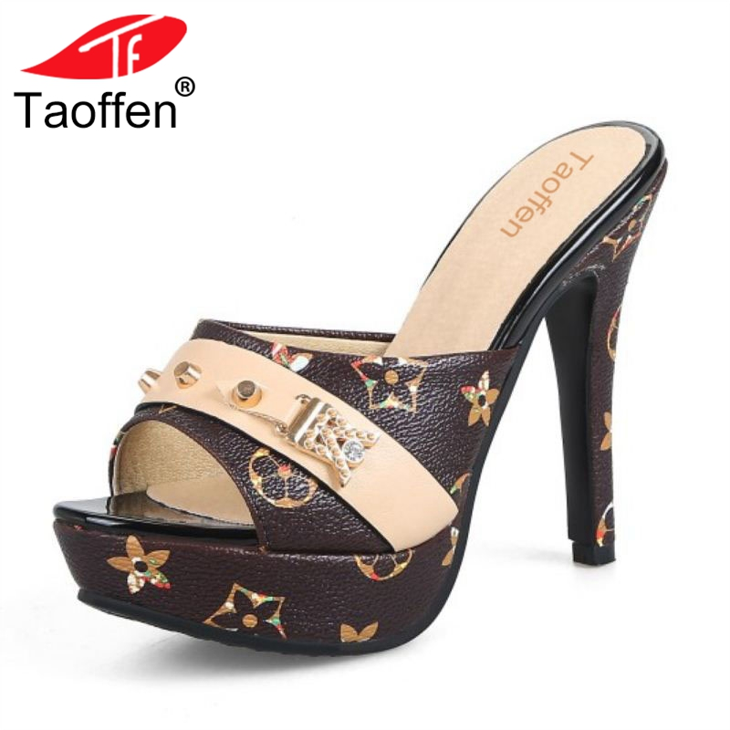 TAOFFEN Size 33-43 Women Sandals Sexy High Heels Women Slippers Party Shoes Women's Summer Sandals Heels Ladies Daily Footwear taoffen women high heel sandals open toe pleated concise slippers solid color shoes women footwear summer party size 34 39