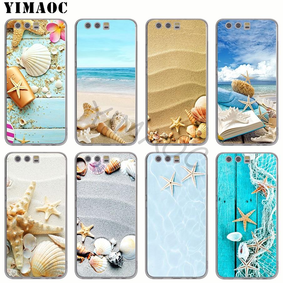 YIMAOC Blue Wood Seashells Sea Star Soft Silicone Case for Huawei P8 P9 Lite 2017 P10 P20 Lite P smart Y6 Prime 2018 TPU Cover