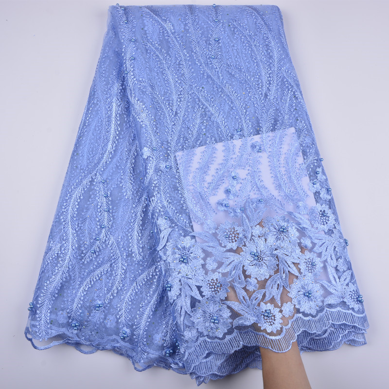 Latest Sky Blue French Laces Fabric 2019 High Quality African Net Mesh Lace Fabric For Wedding