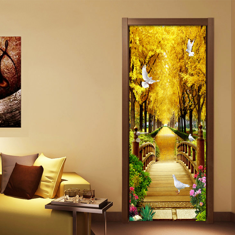 Photo Wallpaper 3D Golden Forest Nature Landscape Murals PVC Waterproof Living Room Door Sticker Modern Self-Adhesive Wall Paper