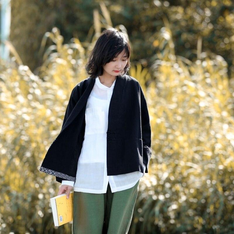 Style chinois vêtements femmes Hanfu 2019 printemps été rétro Vintage chemise ethnique thé Zen Blouse dames chinois hauts AA4476 - 4