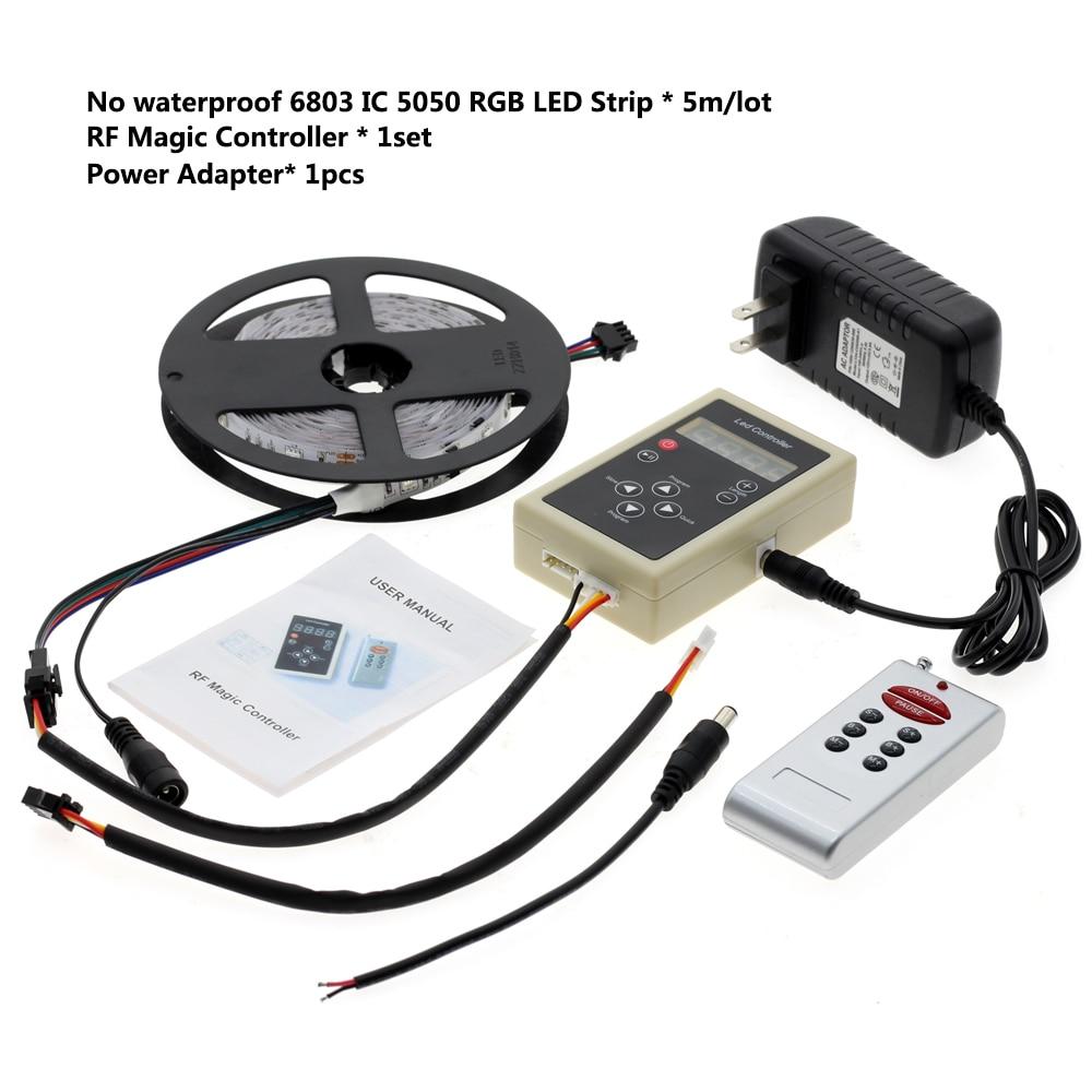 6803 IC Dream couleur RGB LED bande 5050 30 LED/m IP67 étanche 5 M + 133 programme RF contrôleur magique + adaptateur - 4