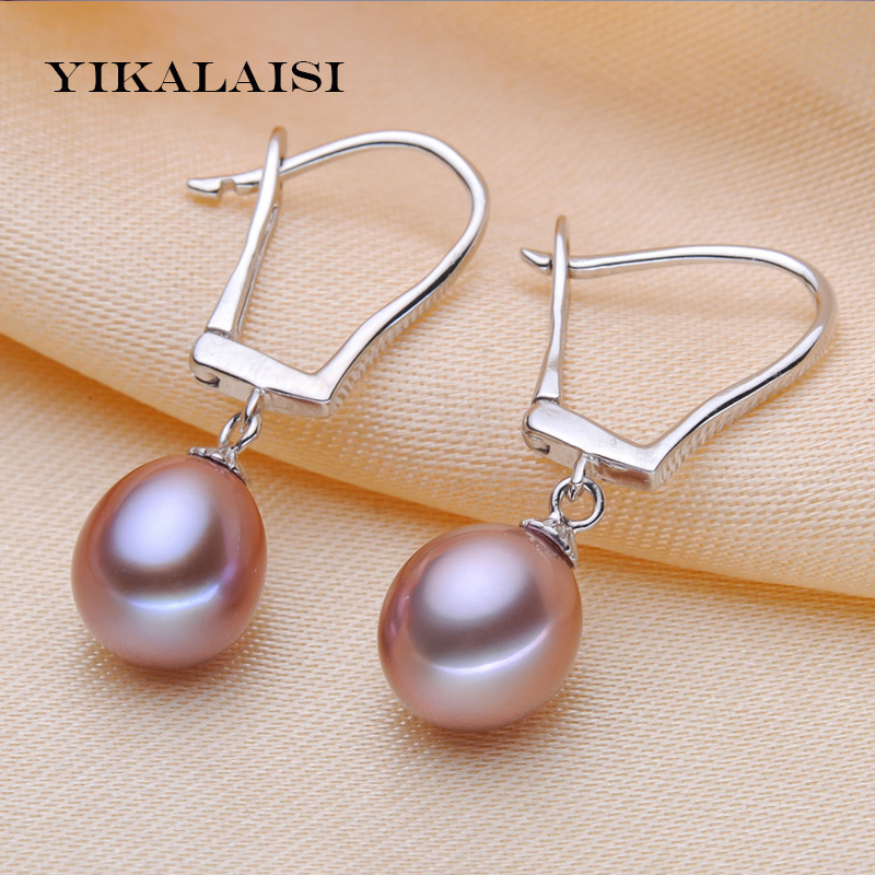 YIKALAISI 2017 100% real pearl Jewelry long earrings 8-9 natural pearl jewelry 925 sterling silver Jewelry for women best gifts