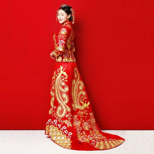Long Train Cheongsam Chinese wedding Dress Qipao Traditional Clothing Top + Skirt Suit Set la robe de mariage de style chinois
