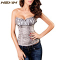 HEXIN Renaissance Corsets and Bustiers Steampunk Waist Trainer Corset Top Lacing Corset For Wedding Dress Zipper Shapewear