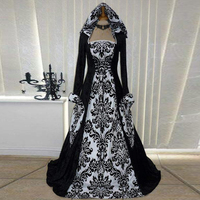 Umeko Vintage Gothic Maxi Dress Flare Sleeve Floral Medieval Renaissance High Waist Cosplay Stage Show Princess Hoodie Dress