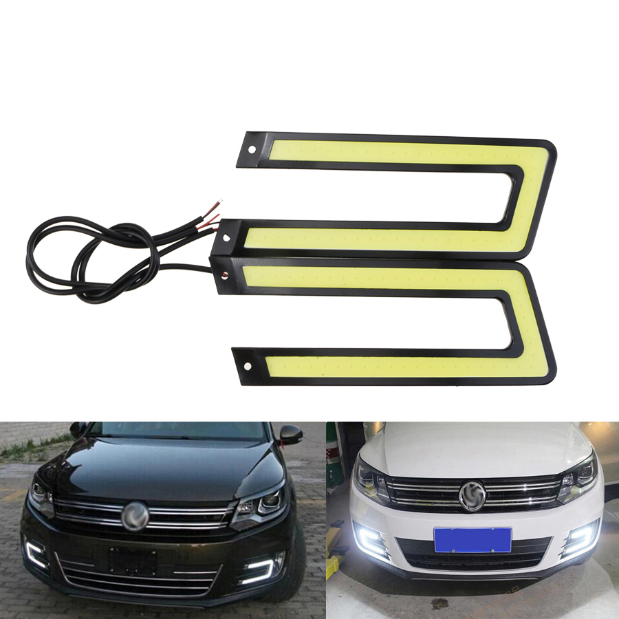 2 pcs Putih es biru COB Led Daytime Running Light DRL Headlight Fog - Lampu mobil - Foto 6