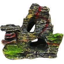 New 1Pc Creative Resin Rockery Aquarium Ornament Simulation Mountain Cave Fish T