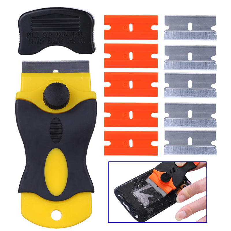 Mobile Phone LCD Glue Remover Scraper Knife For Mobile Phone Tablet LCD Screen Cleaning Tools With 10Pcs Blades