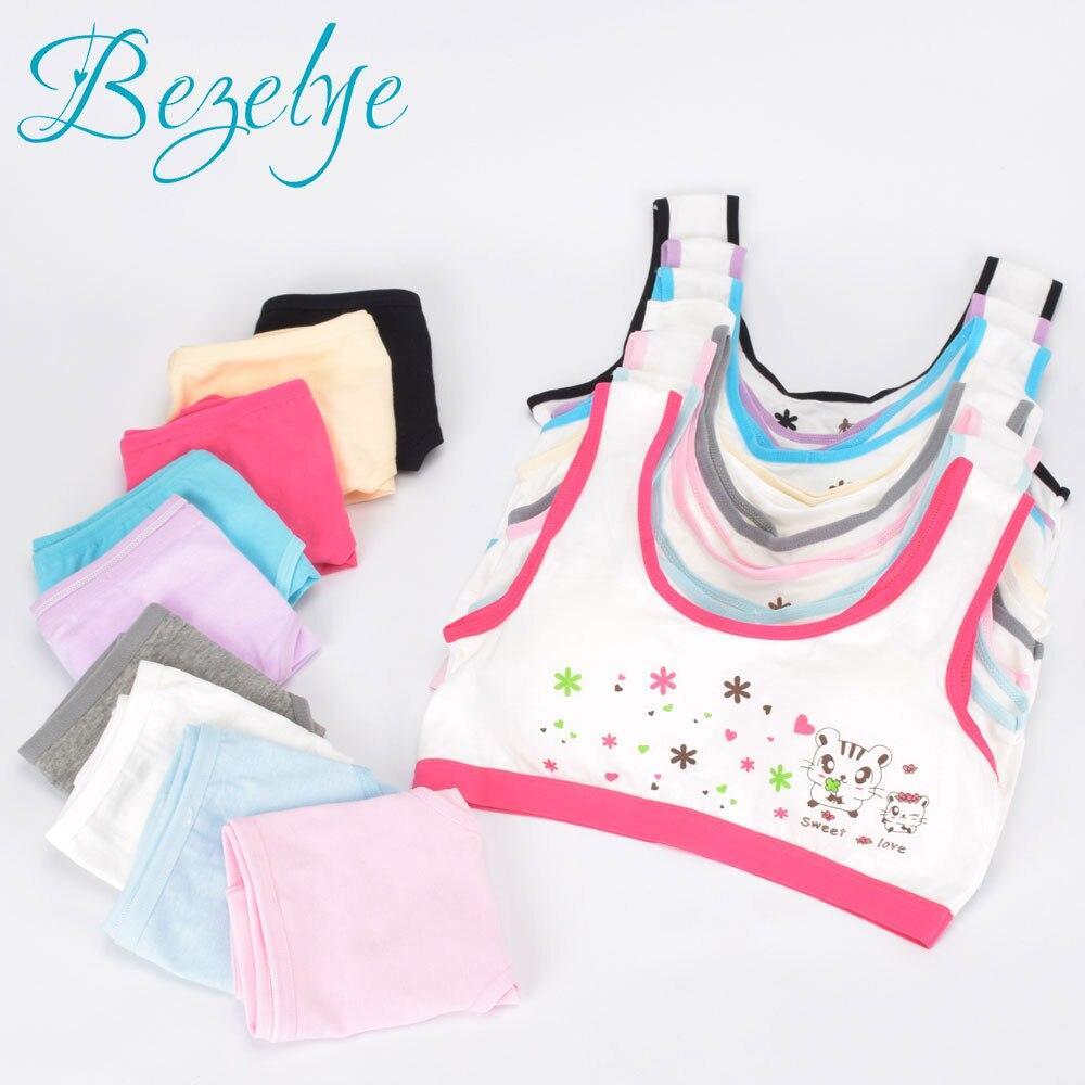 715dd71fc0fc6 Sport Teenagers Girls Bra Set Cartoon Lingerie Kids Cotton Young Girls  Training Bras Wireless Teenager Underwear
