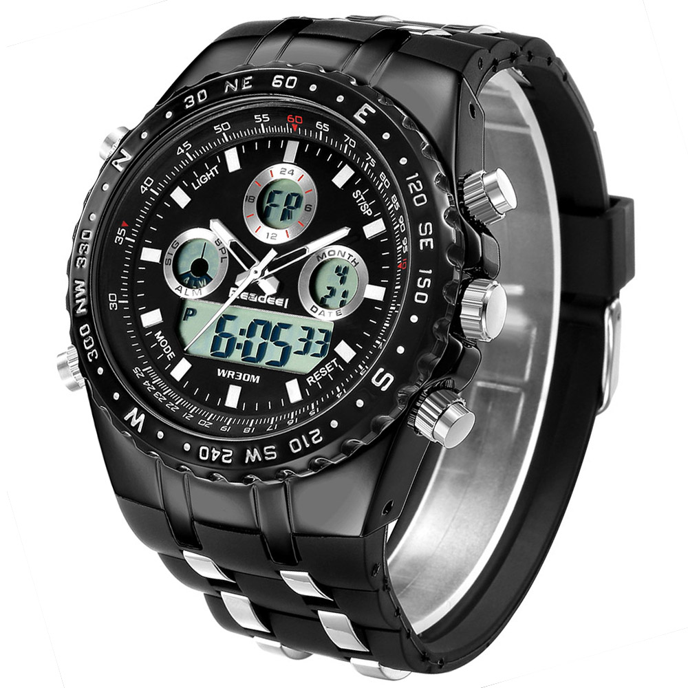 ac923289323e Relojes de hombre Top marca de lujo de goma negro cuarzo reloj hombres Led  militar ocasional