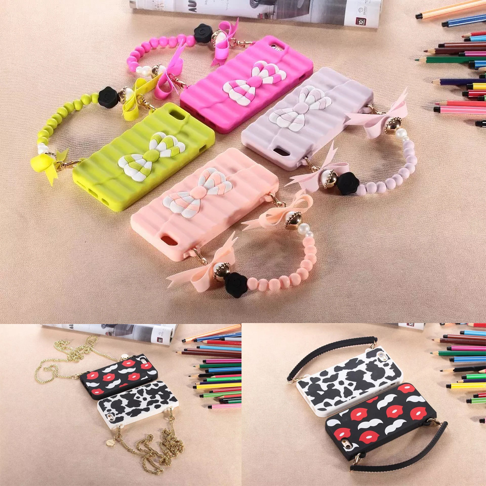 Detail Feedback Questions about Luxury Handbag Soft Silicone Bag Phone Case  Bowknot Lips Cover for iPhone 6 6s Plus 7 7Plus 8 8Plus with Pearl Metal  Chain ... 5939de506f53