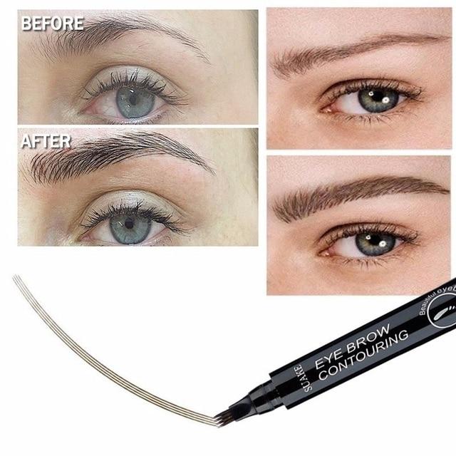 4 Fork Tip Fine Sketch Enhancer Eyebrow Tattoo Pen Waterproof Microblading Eyebrow Tattoo Tint Henna Eyebrow Gel Makeup Tools 3