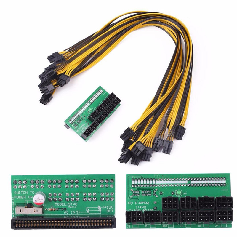 Mining Power Supply 12V GPU PSU Breakout Board + 10pcs 18AWG PCI-E 6 Pin to 6+2 Pin Cables Power Adapter Board psu gpu power adapter breakout board 12v ethereum eth zec devices mining power supply 12pcs 18awg pci e 6pin to 6 2pin cables