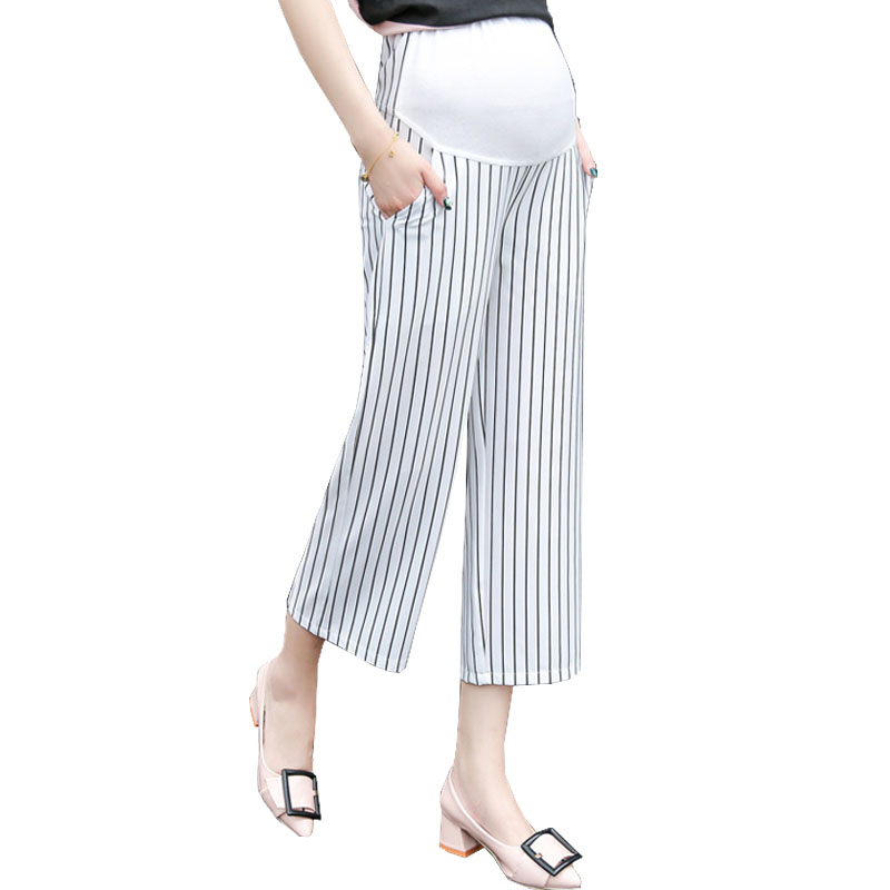 Wide Leg Pants Maternity Capris For Pregnant Women Clothes High Waist Trousers Prop Belly Nursing Pregnancy Clothing Gravidas