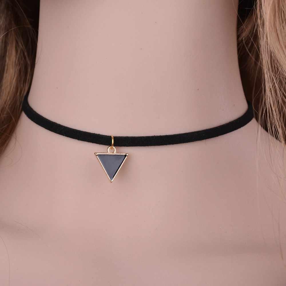 GEREIT Thời Trang New Nhung Da Lộn Choker Necklace Đen Tam Giác Hình Học Charm Gothic Đơn Giản Vòng Cổ Màu Đen Cho Woman Đồ Trang Sức