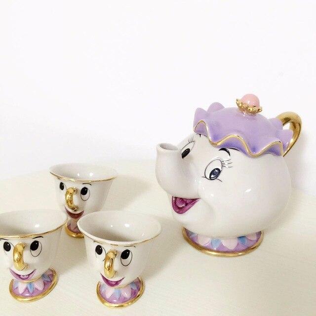 [1 TEIERA + 3 CUPS] Cartoon bella E La Bestia Tea Set Mrs Potts Chip Caffettiera Tazza Mug Carino Xmas Regalo Di Compleanno Trasporto di Goccia