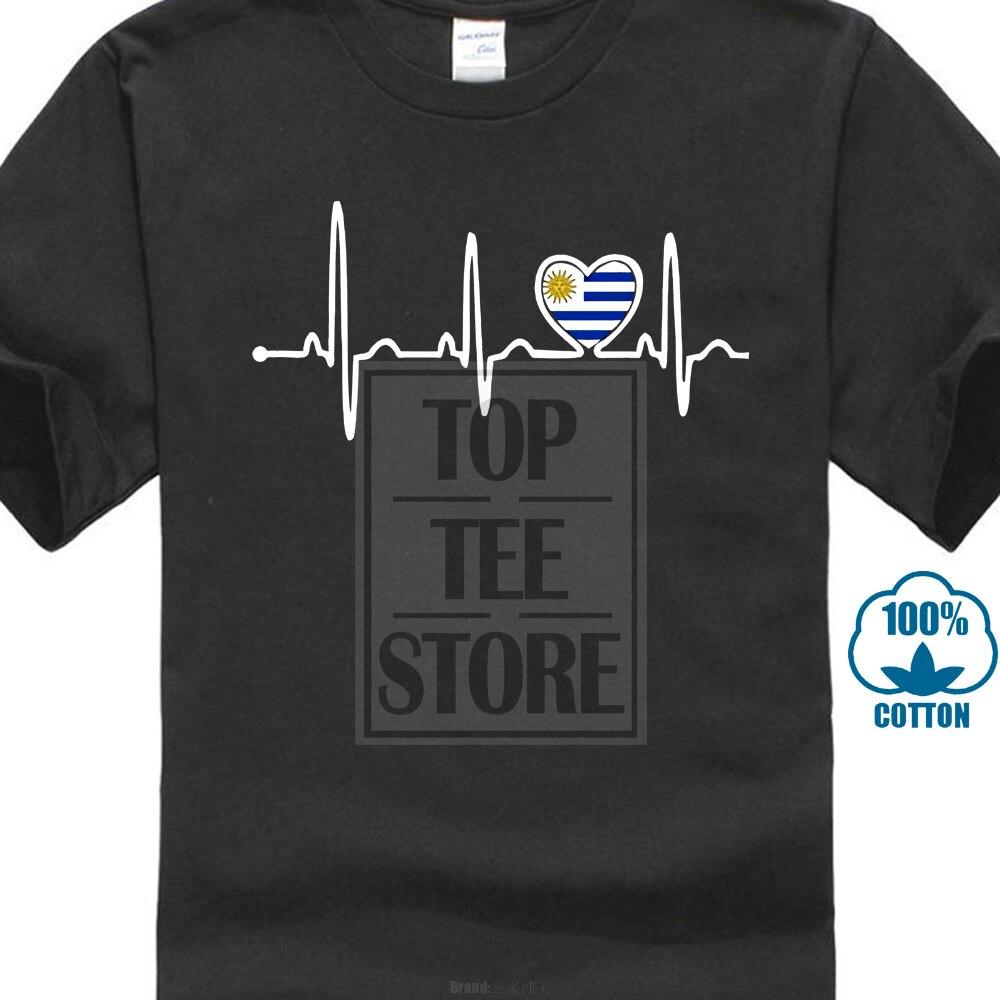 58584eb0b1dab92 Флаг страны Уругвай сердцебиение гордость футболка с круглым вырезом и  принтом большой скидкой Дешевые Новые Для