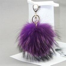 Custom 1pcs 15cm fluffy Raccoon Fur Ball Keychain Fur Pompons Keychain Keyring Chains Pom Pom Decor Charm Handbag Pendant Gift