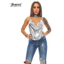 YACKALASI Women Tanks Millionairess Metal Mesh Tops Strap Sexy Halter Metal Party Tank Gold Silver