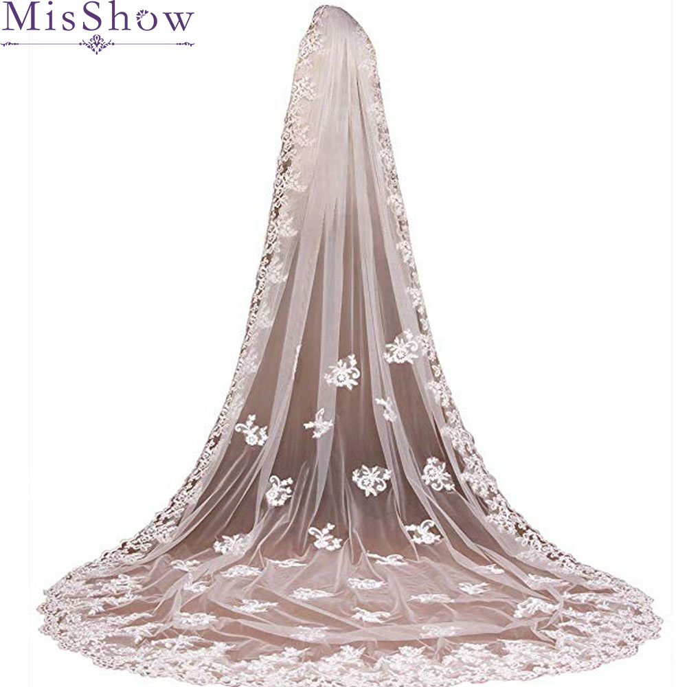 2019 Elegant White Ivory Cathedral Wedding Veil Lace Edge Bridal Veil 3 M Long Trailing Wedding Accessories With Comb