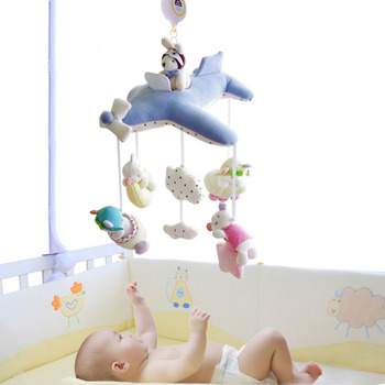 SHILOH Crib Stroller toy Crib mobile Baby Plush Doll Infant Children Newborn Boy Girl Gift with 60 songs Musical Box Holder Arm packaging and labeling