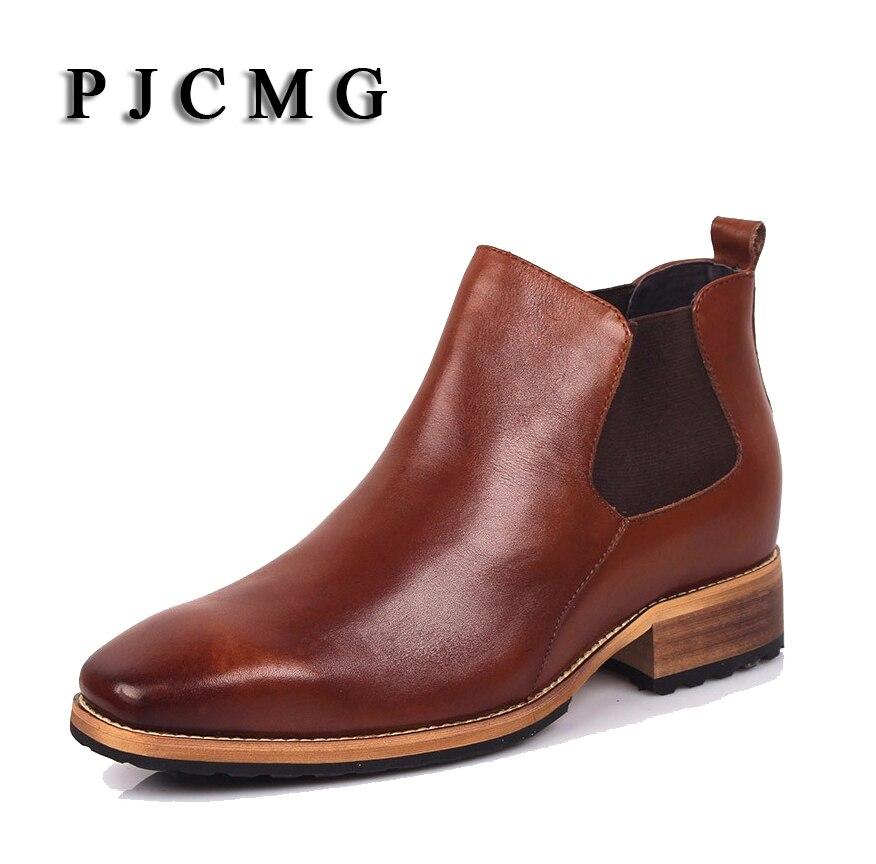 PJCMG Invisível 8 cm Elevador dos homens Moda Apontou Toe Slip-On sapatos de Couro Genuíno de Negócios Formal A Tendência De Sapatos De Couro preto