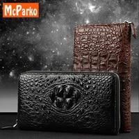 McParko крокодиловый клатч мужчины кошелек натуральная кожа держатель для карт кошелек с монета карман мода черный коричневый сумка на замочк