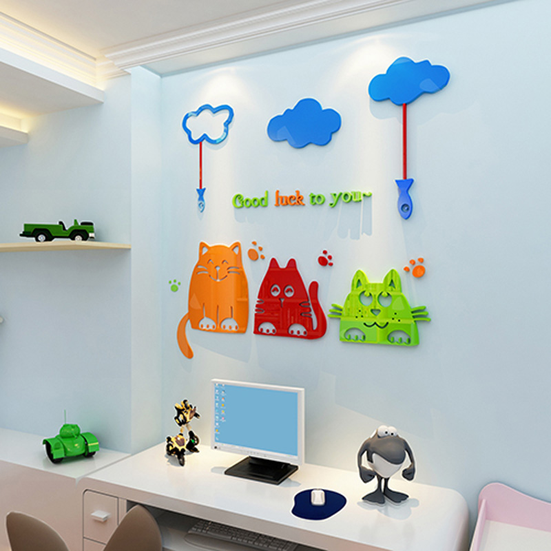 Smiling Cats Acrylic Wall Stickers Cartoon Lucky Kitty Carved Sticker Home Decorations for Baby Room Kindergarten